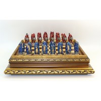 "CHESS SET 'DRAGON'S KEEP' 3.25"" RESIN CHESSMEN on 17""/1"" GOLD VENEER BOARD"