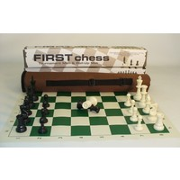 "FIRST CHESS TOURNAMENT SET - 3.75"" PLASTIC CHESSMEN 3W/2Q w/VINYL BOARD & TOTE BAG"