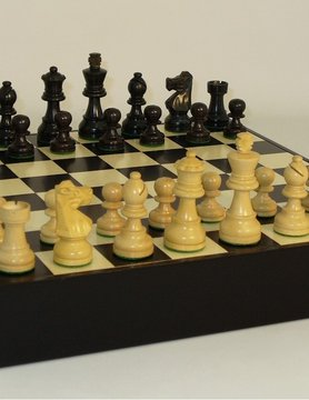 "Worldwise Imports CHESS SET 3"" FRENCH BLACK & NATURAL BOXWOOD on 13.25""/1.5"" CHEST"