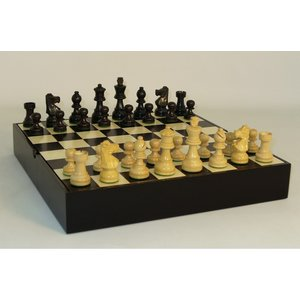 """Worldwise Imports CHESS SET 3"""" FRENCH on 13.25""""/1.5"""" CHEST"""