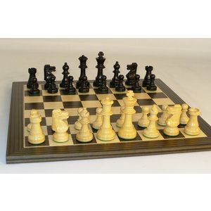 """Worldwise Imports CHESS SET 3"""" FRENCH on 14""""/1.5"""" BOARD"""