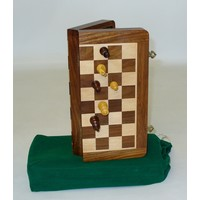 "CHESS SET FOLDING MAGNETIC - 2"" SHEESHAM CHESSMEN on 10""/.75"" BOARD"