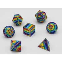DICE FOR ALL SET 7 METAL RAINBOW PRIDE w/ ENAMEL PIN