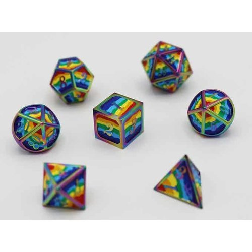 Foam Brain Games DICE FOR ALL SET 7 METAL RAINBOW PRIDE w/ ENAMEL PIN