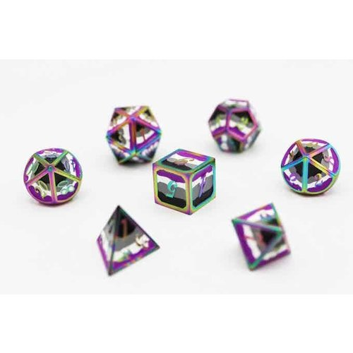 Foam Brain Games DICE FOR ALL SET 7 METAL ASEXUAL PRIDE w/ ENAMEL PIN
