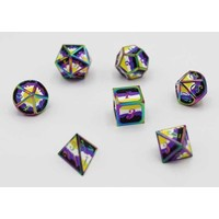 DICE FOR ALL SET 7 METAL NON-BINARY PRIDE w/ ENAMEL PIN