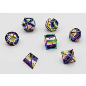 Foam Brain Games DICE FOR ALL SET 7 METAL NON-BINARY PRIDE w/ ENAMEL PIN
