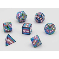 DICE FOR ALL SET 7 METAL TRANSGENDER PRIDE w/ ENAMEL PIN
