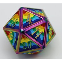 DICE FOR ALL D20 16mm METAL RAINBOW PRIDE