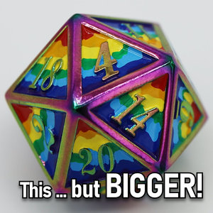 Foam Brain Games DICE FOR ALL D20 35mm METAL RAINBOW PRIDE (Oversized)