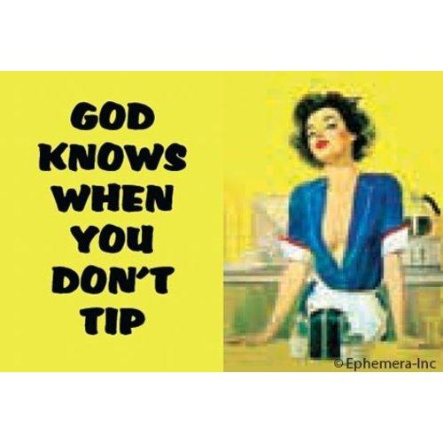 EPHEMERA MAGNET GOD KNOWS WHEN YOU