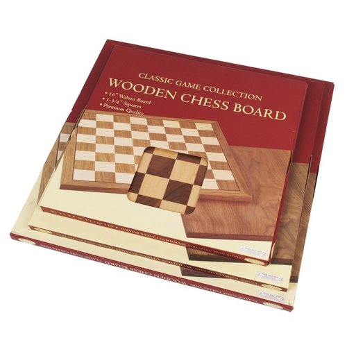 "JOHN HANSEN COMPANY CHESS BOARD 16"" WALNUT w/ 1.75"" SQ"