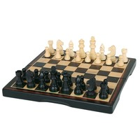 "CHESS SET 3"" FOLDING EBONY on 15"" BOARD"