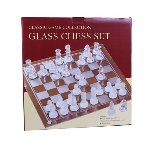"JOHN HANSEN COMPANY CHESS SET 3"" ETCHED GLASS on 14"" BOARD"