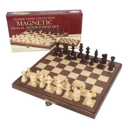 "JOHN HANSEN COMPANY CHESS SET 1.75"" WOOD on 11"" MAGNETIC BOARD"