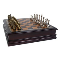 "CHESS SET 2.5"" METAL & WOOD (12""x12"")"