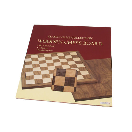 "JOHN HANSEN COMPANY CHESS BOARD 18"" WALNUT w/ 2"" SQ"