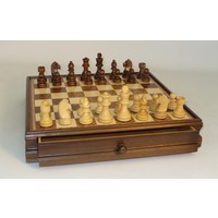 "CHESS SET 3"" FRENCH BOXWOOD CHESSMEN on 15""/1.75"" WALNUT & MAPLE INLAID BOARD"