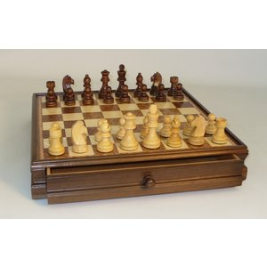 "Worldwise Imports CHESS SET 3"" FRENCH on 15""/1.75"" CHEST"
