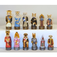 "CHESSMEN 3.25"" CATS & DOGS HANDPAINTED RESIN"