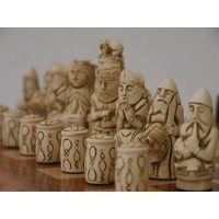 "CHESSMEN 3.75"" MEDIEVAL GERMAN MARBLE & RESIN"