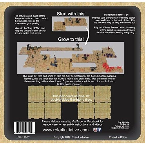 "Role 4 Initiative DRY ERASE DUNGEON TILES: 10"" EARTHTONE PACK"