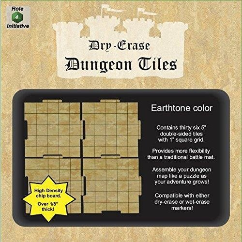 """Role 4 Initiative DRY ERASE DUNGEON TILES: 5"""" EARTHTONE PACK"""