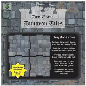 """Role 4 Initiative DRY ERASE DUNGEON TILES: 5"""" GRAYSTONE PACK"""
