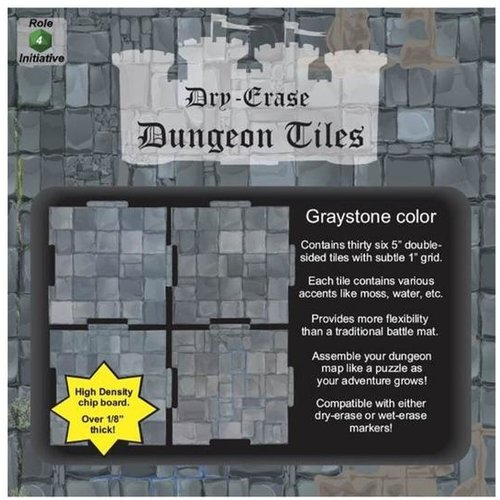 "Role 4 Initiative DRY ERASE DUNGEON TILES: 5"" GRAYSTONE PACK"