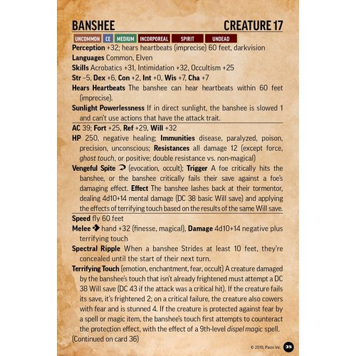 Paizo Publishing PATHFINDER 2ND EDITION: BESTIARY BATTLE CARDS
