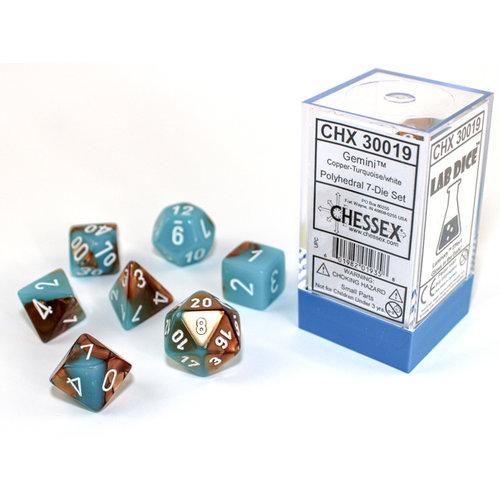 Chessex DICE SET 7 GEMINI LUMINARY COPPER-TURQUOISE/WHITE