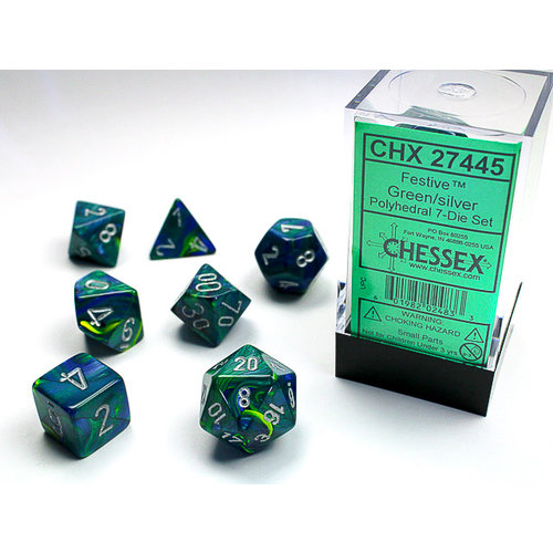 Chessex DICE SET 7 FESTIVE GREEN