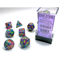 DICE SET 7 FESTIVE MOSAIC W/ YELLOW