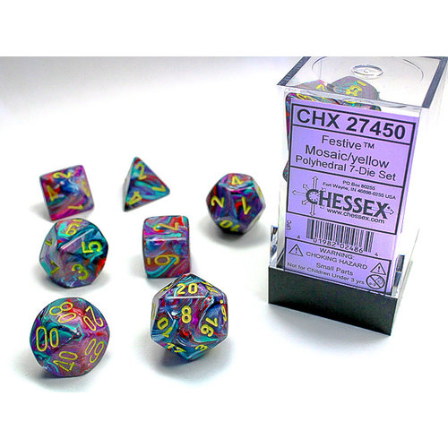 Chessex DICE SET 7 FESTIVE MOSAIC W/ YELLOW