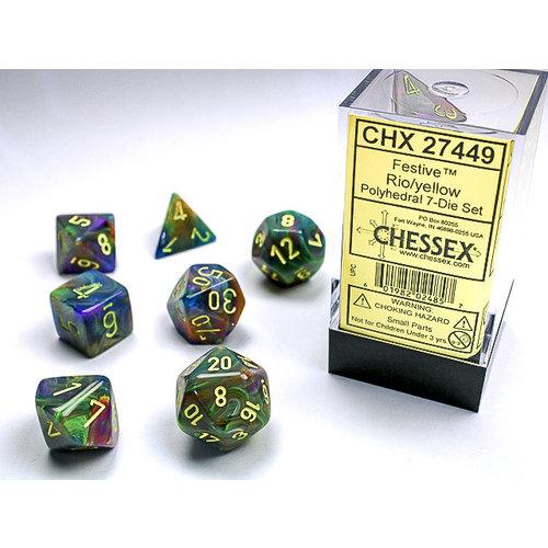 Chessex DICE SET 7 FESTIVE RIO W/ YELL