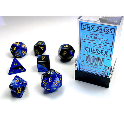 Chessex DICE SET 7 GEMINI BLACK-BLUE