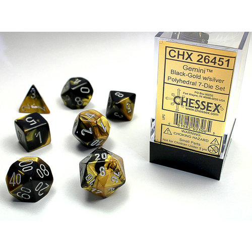 Chessex DICE SET 7 GEMINI BLACK-GOLD