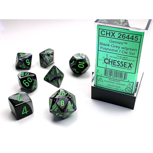 Chessex DICE SET 7 GEMINI BLACK-GREY