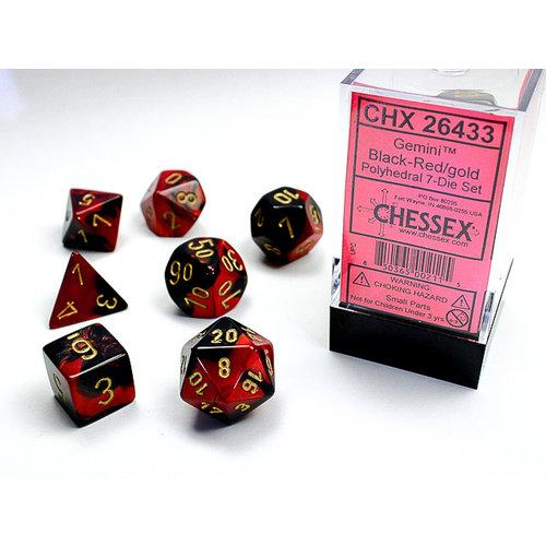 Chessex DICE SET 7 GEMINI BLACK-RED
