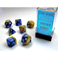 DICE SET 7 GEMINI BLUE-GOLD