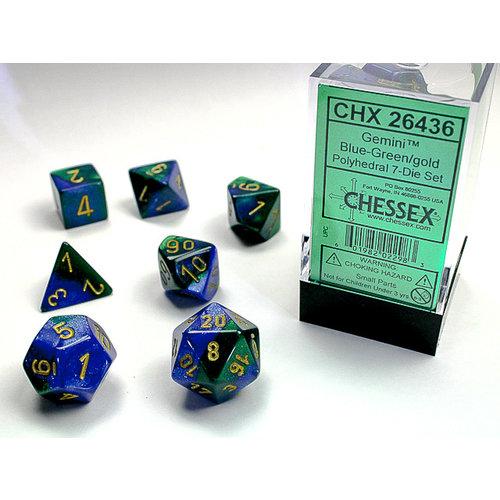 Chessex DICE SET 7 GEMINI BLUE-GREEN