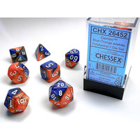 DICE SET 7 GEMINI BLUE-ORANGE