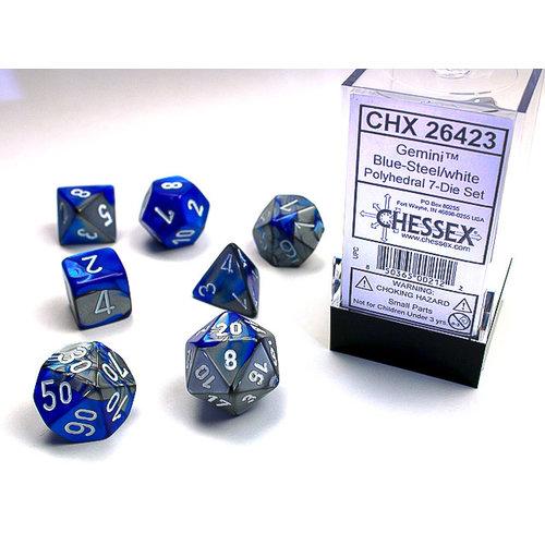 Chessex DICE SET 7 GEMINI BLUE-STEEL