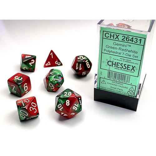 Chessex DICE SET 7 GEMINI GREEN-RED