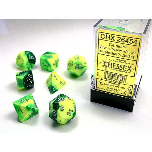 Chessex DICE SET 7 GEMINI GREEN-YELLOW