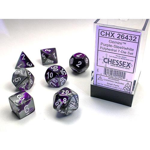 Chessex DICE SET 7 GEMINI PURPLE-STEEL