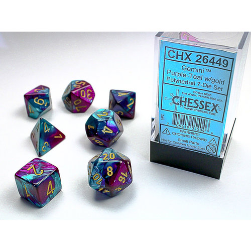 Chessex DICE SET 7 GEMINI PURPLE-TEAL