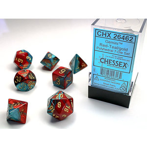 Chessex DICE SET 7 GEMINI RED-TEAL W/G