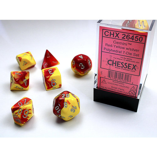 Chessex DICE SET 7 GEMINI RED-YELLOW
