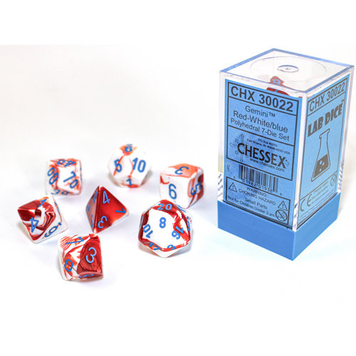 Chessex DICE SET 7 GEMINI: RED / WHITE / BLUE